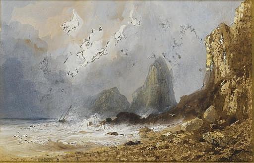Scène de tempête sur une côte avec des falaises, un bateau à l'horizon