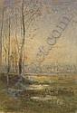 Paysage marécageux au crépuscule , Francois-Auguste Ravier, Click for value