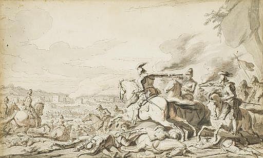 Scène de bataille, une ville en feu à l'arrière-plan
