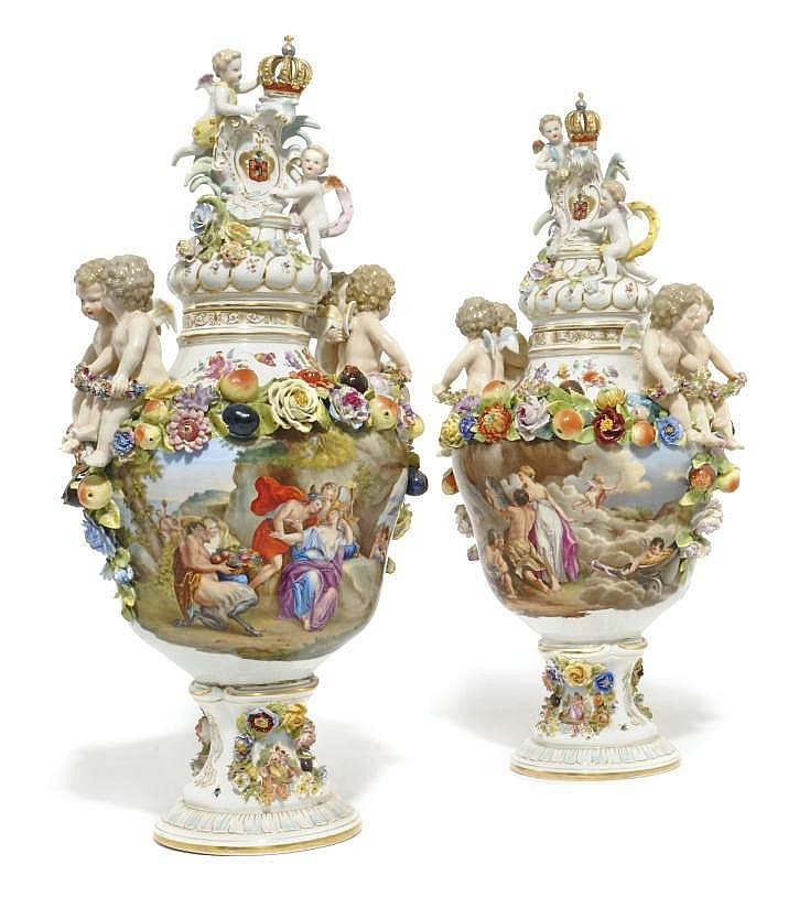 A PAIR OF CARL THIEME (POTSCHAPPEL) FLOWER-ENCRUSTED VASES AND TWO COVERS