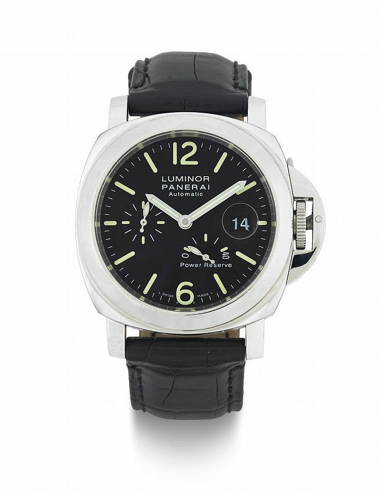 PANERAI. A LIMITED EDITION STAINLESS STEEL AUTOMATIC WRISTWATCH WITH DATE AND POWER RESERVE