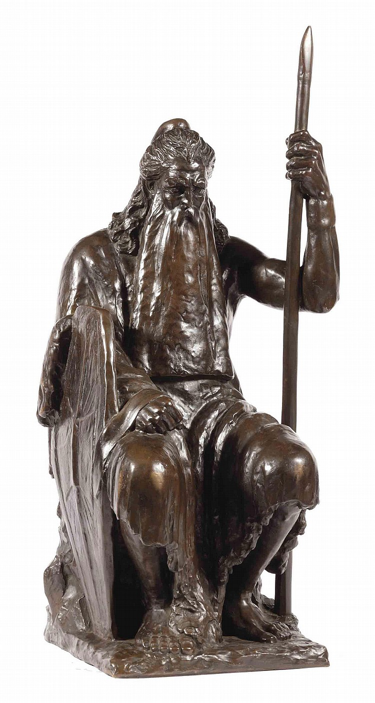 A BELGIAN BRONZE SEATED FIGURE OF A BEARDED MAN 'WOUDMENS'