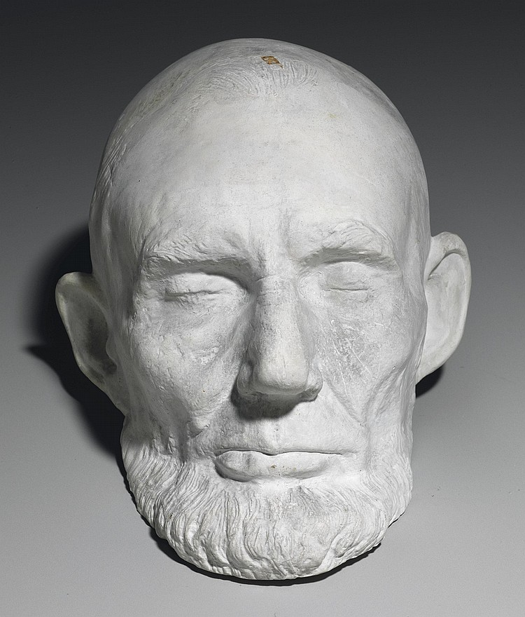 [LINCOLN, Abraham]. MILLS, Clark (1810-1883), American sculptor . Plaster cast from the original plaster life mask of President Abraham Lincoln, taken in the White House, Washington, D.C.,11 February 1865, date of cast unknown. 11 x 8 x 7 in.