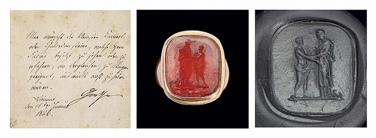 GOETHE, Johann Wolfgang von (1749-1832). Large gold ring Goethe's, the oval glass gem engraved by Angelica Facius (1806-1887) depicting