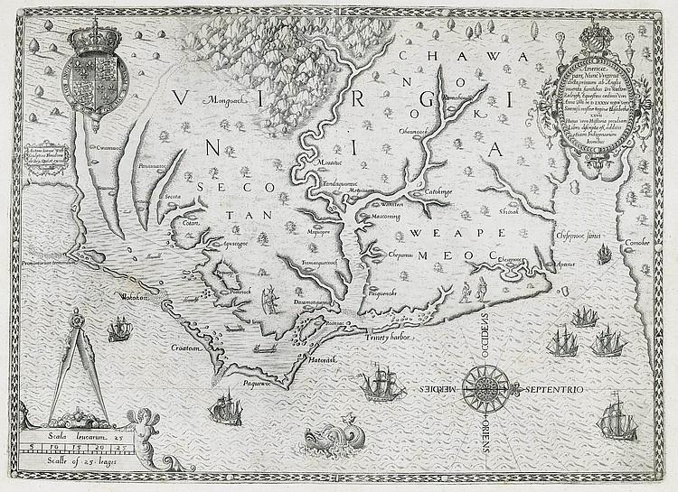 BRY, Johann Theodor de (1561-1623), publisher. -- HARIOT, Thomas (1560-1621). Admiranda narration fida tamen, de commodis et incolarum ritibus Virginiae, nuper admodum ab Anglis . Frankfurt: de Bry, 1590 [but circa 1608].
