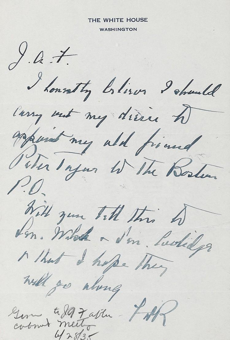 ROOSEVELT, Franklin D. Autograph note signed (