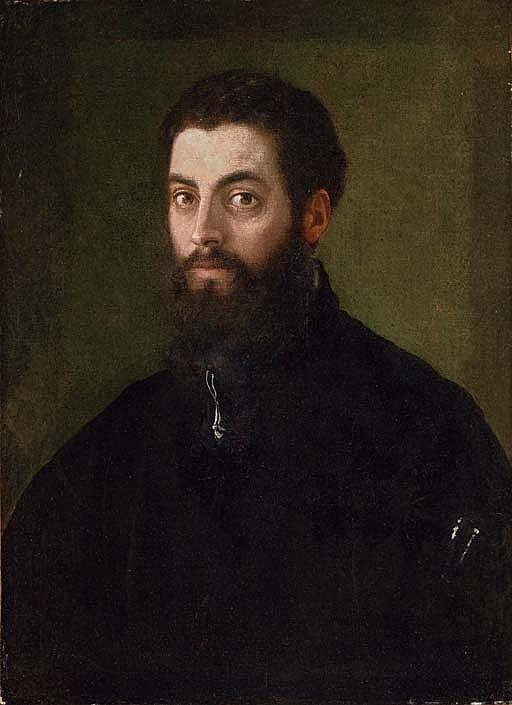 Portrait of a man, traditionally identifed as Federico Gonzaga, Duke of Mantua (1500-1540), half-length, in a black coat