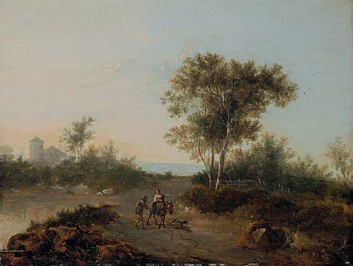 An Italianate landscape with travelers on a path