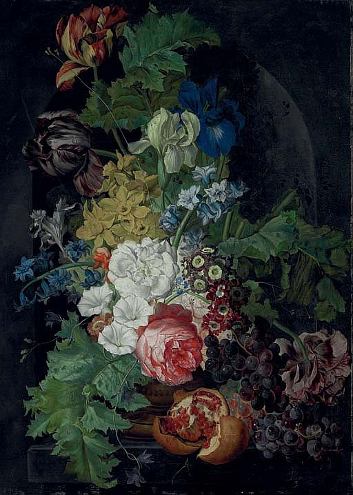 Tulips, irises, morning glories and other flowers in an urn, with grapes and a pomegranate, in a stone niche
