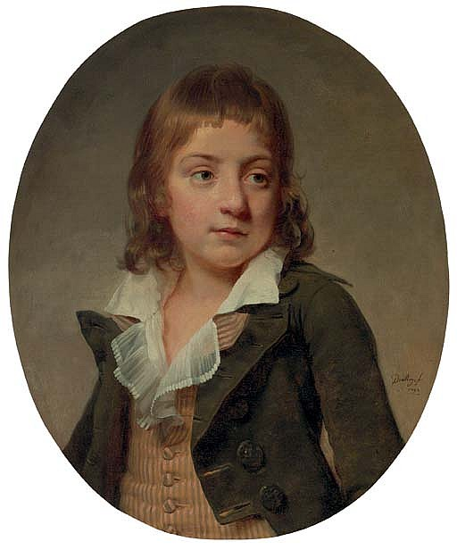 Portrait of a young boy, bust length, in a striped vest and grey jacket