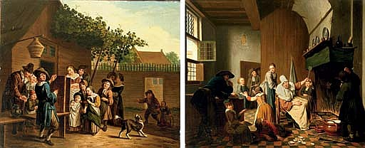 A village scene with a puppeteer; and A domestic interior with a boy being scolded for breaking a plate