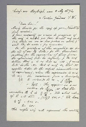 STRUTT, John William, Third Baron Rayleigh (1842-1919). Autograph letter signed (