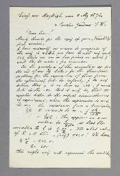 STRUTT, John William, Third Baron Rayleigh (1842-1919). Autograph letter signed (