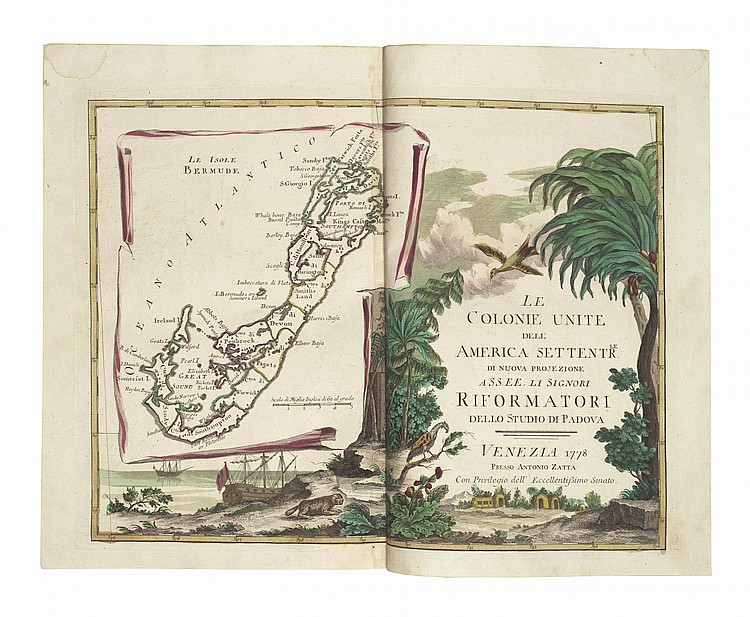 ZATTA, Antonio (fl. 1757-97). Atlante Novissimo . Venice: Antonio Zatta, [1775]-1785. 4 volumes, 2° (375 x 260mm). Double-page engraved frontispiece, 218 hand-coloured double-page engraved maps and views. (Lacking title of vol. I, title of vol.