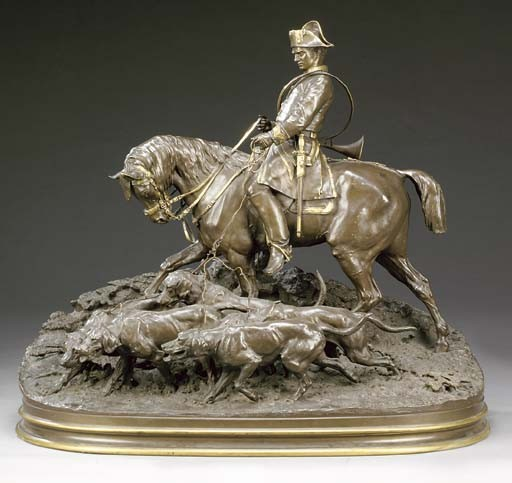 A French parcel-gilt bronze group, entitled 'Valet de Chasse Louis XV et sa harde'
