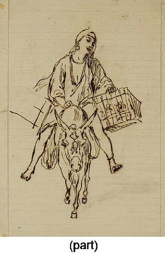Femme chargée de colis sur un âne