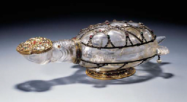 A RENAISSANCE-STYLE JEWELLED AND ENAMELLED GOLD-MOUNTED ROCK-CRYSTAL BIBERON IN THE FORM OF A TORTOISE