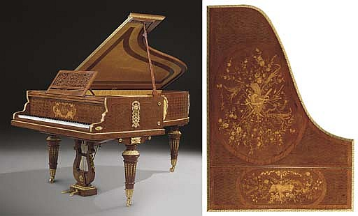 A FINE LOUIS XVI STYLE ORMOLU-MOUNTED AMBOYNA, MAHOGANY, MARQUETRY AND PARQUETRY 'PIANO DEMI QUEUE'
