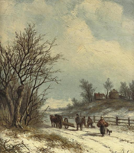Gezigt in de omstreeken van Arnhem: wood gatherers on a snowy path near Arnhem