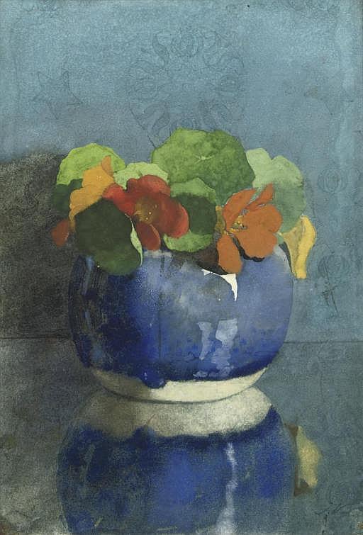 East Indian Cress in a blue ginger jar