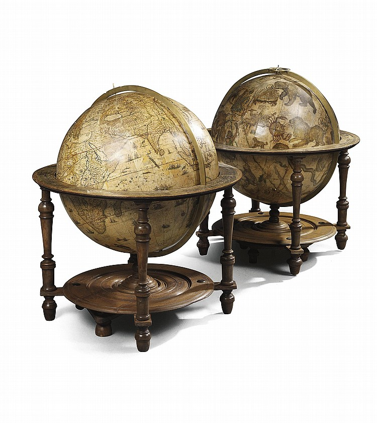 A LARGE PAIR OF DUTCH 26 IN. (68 CM.) LIBRARY GLOBES