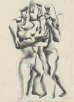 Ossip Zadkine (1890-1967)  Trois figures  pen and India ink on paper  30 1/