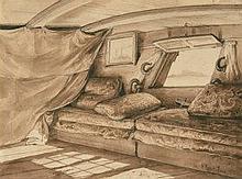 HORACE VERNET (PARIS 1789-1863)  - Cabinet du capitaine d'un bateau, le hublot ouvert