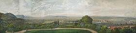 ALOIS GUSTAV SCHULZ (PRAGUE 1805-1860)  - Vue panoramique de la ville de Jirkov, prise depuis le château de...