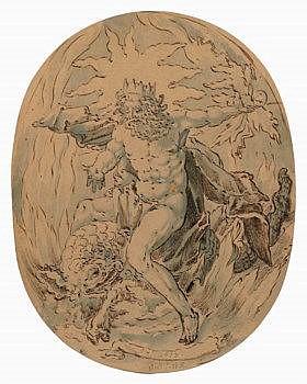 JOHAN VAN LINTELO (HOLLANDAIS, ACTIF ENTRE 1619 ET 1633)  - Jupiter (?) assis sur un monstre marin