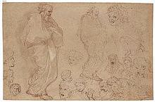 MICHEL-ANGE CORNEILLE (PARIS 1842-1708) - Deux personnages drapés et études de têtes (recto); Etude pour Moïse...