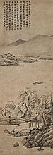 SHEN ZHOU (1427-1509) Willow Tree alongside the Lake Hanging scroll, ink and colour on paper 114 x 39.5 cm. (44 7/8 x 15 1/2 in.)
