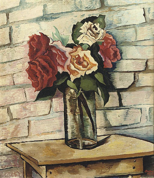 A still life with roses in a glass vase