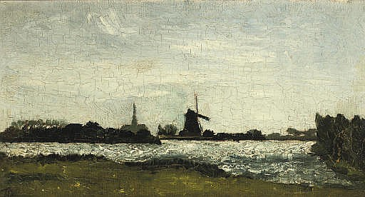River landscape with steeple and mill