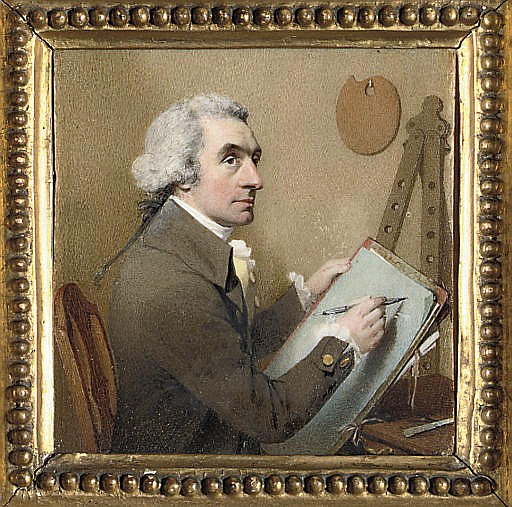 A self-portrait of the artist, seated at his drawing board holding a pencil; easel and palette in background