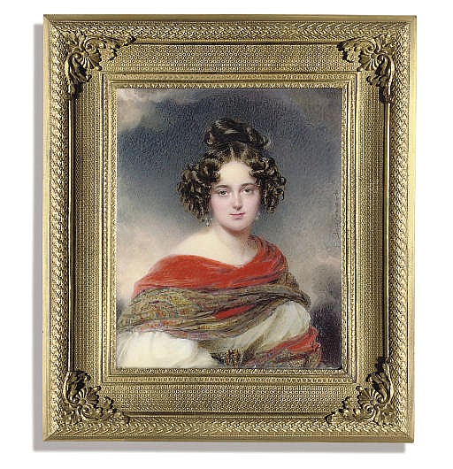A magnificent miniature of a young lady called Princess Melanie Metternich (1805-1854), in white dress with voluminous sleeves, wearing a belt with gem-set gold buckle, red embroidered Cashmere shawl draped across her shoulders, pearl earrings,