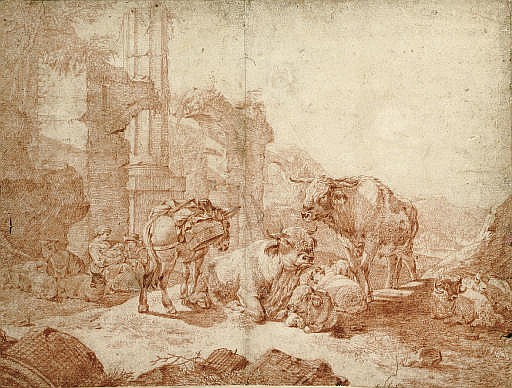A peasant family and their animals resting by classical ruins