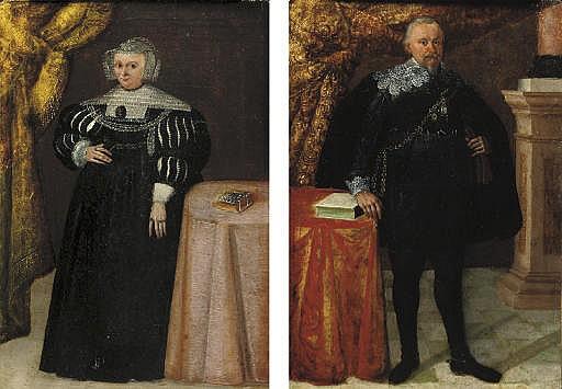Portrait of a gentleman, full-length, in a black coat, by a table; and Portrait of a lady, full-length, in a black dress, by a table
