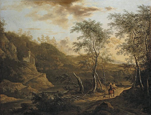 A wooded river landscape with a traveller on a track