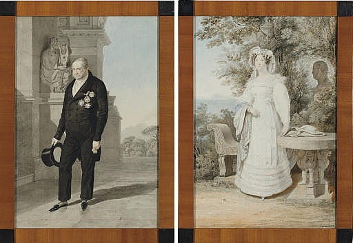 Portrait of Francesco I, King of the Two Sicilies, small full-length, by a monument; and Portrait of his wife Isabella, small full-length, in an ivory dress, in a wooded garden