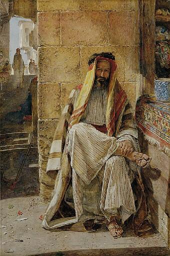 An Arabian Chief, seated in a Cairo Bazaar