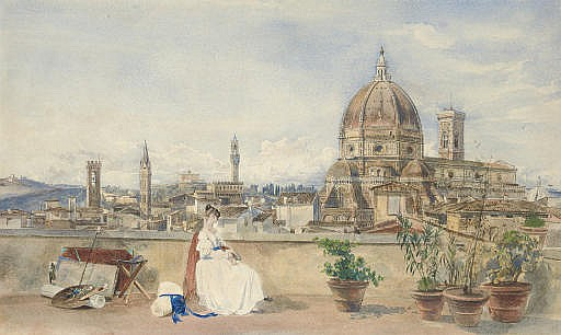 The artist's wife admiring the skyline of Florence with the Bargello, Badia, Forte Belvedere, Palazzo Vecchio, Duomo and Campanile, from a roof terrace on the Via dei Servi