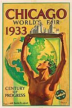 Hernando G. Villa (1881-1952) CHICAGO WORLD'S FAIR lithograph in colours,