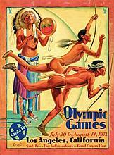Hernando G. Villa (1881-1952) OLYMPIC GAMES, LOS ANGELES, CALIFORNIA litho