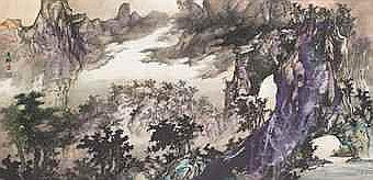 WU YUELIU (NG YUET LAU, BORN 1943) Mountain Landscape with Purple Light