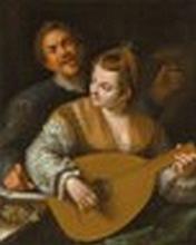 Hans von Aachen (Cologne 1552-1615 Prague) and Studio - 'Donna Venusta' with a portrait of the artist