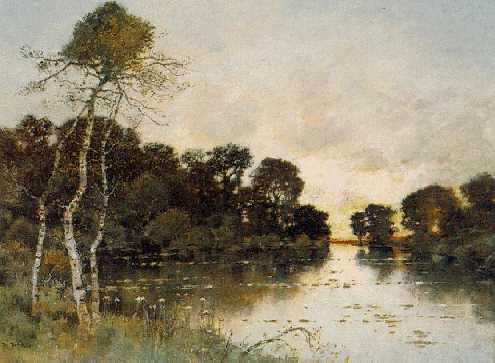 KARL HEFFNER (1849-1925) Sunset on the River signed K. Heffner lower left
