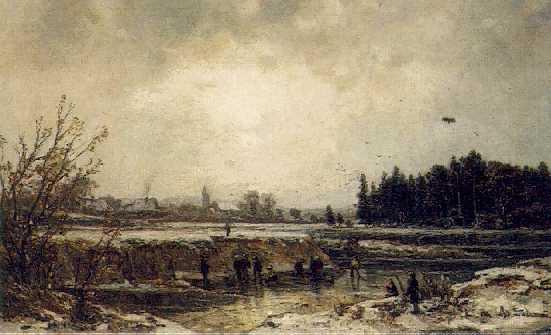 ADOLF STADEMANN (GERMAN, 1824-1895) Figures in a Frozen Winter Landscape