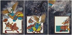 Farah Ossuli (Iranian, b. 1953)  - Triptych: War, Love and Escape