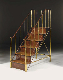 A SET OF FRENCH LACQUERED BRASS AND MAHOGANY LIBRARY STEPS