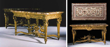 A PAIR OF ROMAN GILTWOOD SIDE TABLES WITH ORMOLU-BORDERED MOSAIC TOPS
